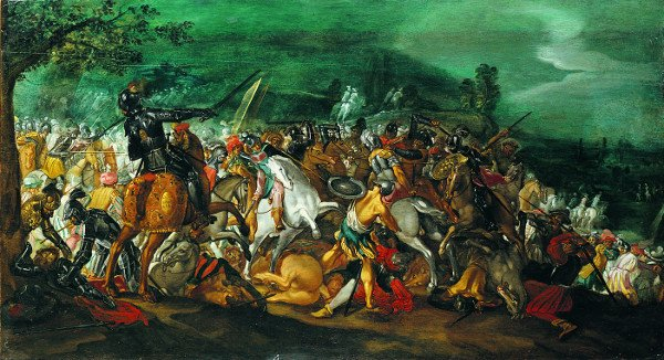 Ancient battle between knights and soldiers 1: the first of a pair of paintings by Antonio Tempesta