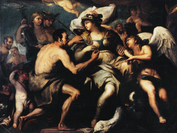 Justice disarmed by Love and Vice: a painting by Luca Giordano