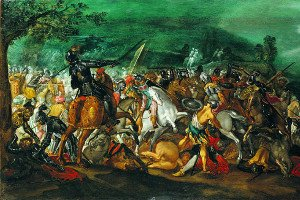 Ancient battle between knights and soldiers: icon of a painting by Antonio Tempesta