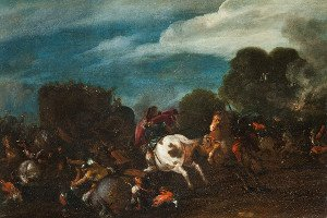 Knights fight against two elephants: icon of a painting by Filippo Napoletano