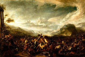 Ancient battle in a valley: icon of a painting by Jacques Courtois detto il Borgognone