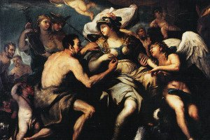Justice disarmed by Love and Vice: icon of a painting by Luca Giordano