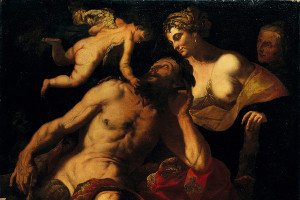 Hercules and Onphale: icon of a painting by Pietro Paolo Raggi